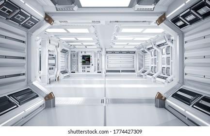 Futuristic Architecture Sci-Fi Hallway and Corridor Interior, 3D Rendering