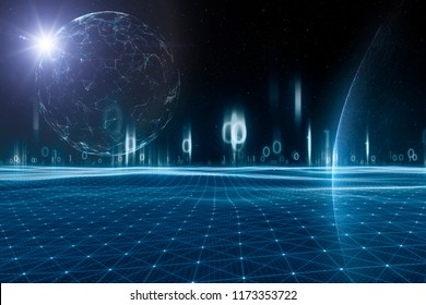 Futuristic artificial intelligence universe with planets and stars. Selective focus used. Illustration background.