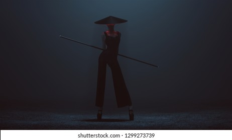 Futuristic Asian Demon Assassin in a Corset and Pant Suit with a Staff and Conical Hat 3d illustration
