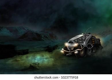 futuristic ATV crosses the great Martian desert