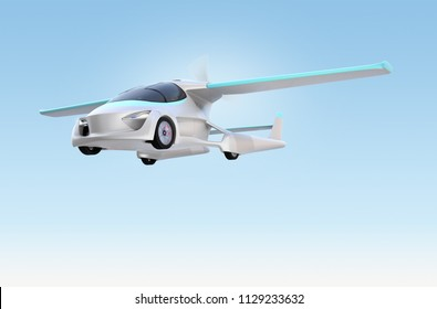 Futuristic autonomous car flying in the sky. Original design. 3D rendering image.
