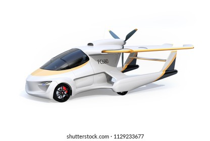 Futuristic autonomous car isolated on white background. The wings turned to rear side in compact size. Flying car concept. 3D rendering image.