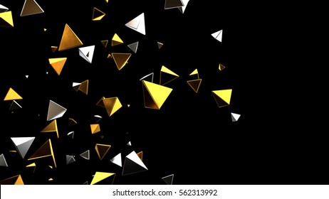 Futuristic background. 3d rendering gold pyramid