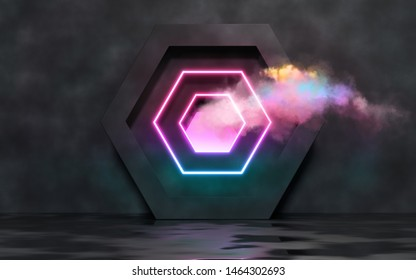 Futuristic black room with hexagon, lights and clouds. 3D render/ rendering.