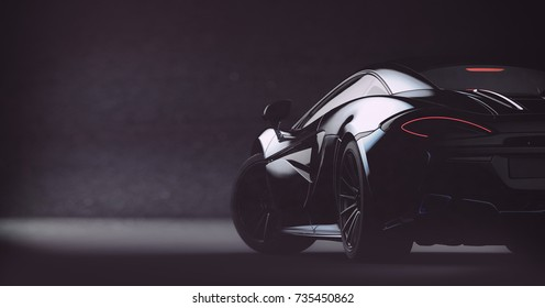 Futuristic black sports car, rear view (with grunge overlay) concept, brandless - 3d illustration