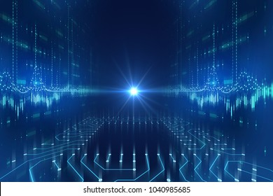 futuristic blue circuit pattern abstract background illustration,concept of cyber space and ai.