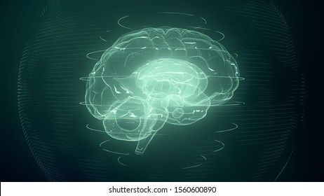 Futuristic blue digital brain in cyberspace. Neurons firing in MRI scan of artificial intelligence neural network. Medical research of brain activity. Deep learning, AI and modern technology 3D render