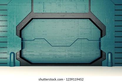 Futuristic blue metallic door 3D render