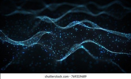 Futuristic blue neural network. Abstract science fiction concept. 3D rendering with DOF