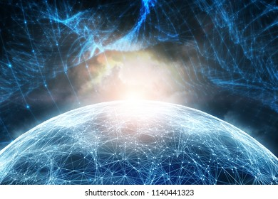 Futuristic blurry cyberspace sphere with artistic network net illustration background.