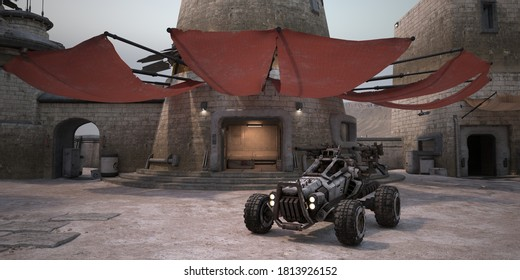 A futuristic buggy next to a stone brick tower with awnings. Sci-fi scene. Desert outpost against dusty alien sky. Stone towers with neon lights. Retro future wallpaper. Photorealistic 3D illustration