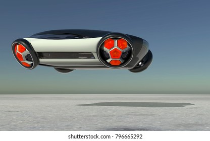 The futuristic bus is flying over the surface. Passenger transportation of the future.Possible concept. 3D illustration