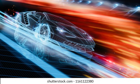 Futuristic car concept - High speed wire car (with grunge overlay) - 3d illustration