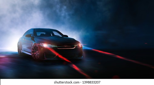 Futuristic car with laser safety lights - futuristic car concept - front view in outdoor studio  (with grunge and dust overlay) brand less - 3d illustration
