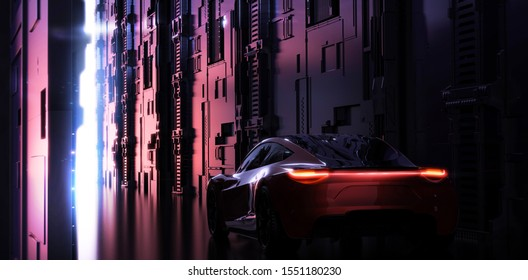 Futuristic car in modern city - concept - tail lights detail, back view - 3d render, 3d illustration