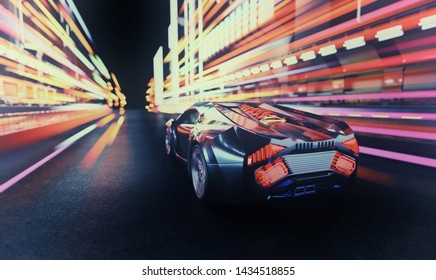 Futuristic Car at Night. Motion Blur Background with Light Trails. 3D illustration