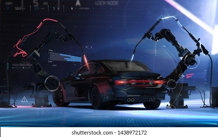 Futuristic Car Production line - futuristic concept, with car sensors and laser welding robots (indoor studio, rear view) - 3d illustration