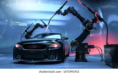 Futuristic Car Production/Detailing line - futuristic concept, with car sensors and laser welding robots (indoor studio, front view) - 3d illustration