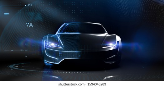 Futuristic car technology concept with wireframe intersection (3D illustration)