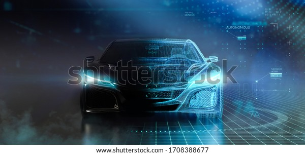 Futuristic car with wireframe intersection with digital user interface environment (3D Illustration)