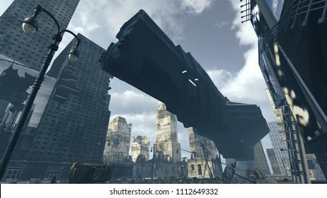 Futuristic cargo spaceship landing in apocalyptic city. 3D rendering