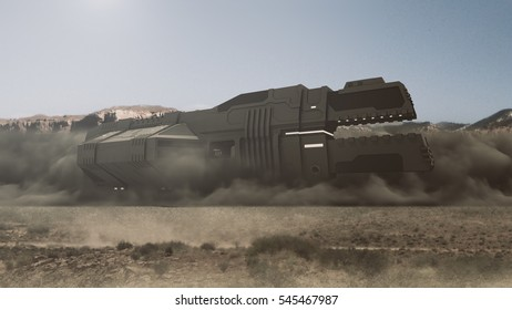 Futuristic cargo spaceship landing on the surface 3D rendering