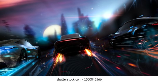 Futuristic cars racing in the city - street racer concept (with grunge overlay) brand-less - 3d illustration