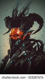 futuristic character,robotic demon,illustration painting