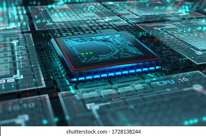 Futuristic circuit board. CPU 3D illustration. Motherboard digital chip. Hi-Tech science background. Artificial Intelligence and Quantum Technology