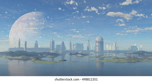 futuristic city, 3d illustration