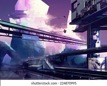 Futuristic city. Abstract drawn futuristic scifi fantasy cityscape and station with hills art illustration.