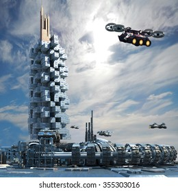 Futuristic city architecture with skyscraper, ring structure and hoovering aircrafts for futuristic, science fiction or fantasy backgrounds