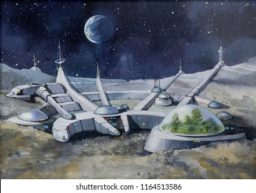 futuristic city, base, town on moon. The space view of the planet earth. expedition. Manned space exploration. Ilustration. Picture