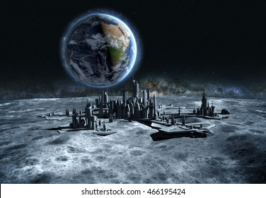 futuristic city, base, town on moon. The space view of the planet earth. expedition. 3d rendering.Elements of this image furnished by NASA