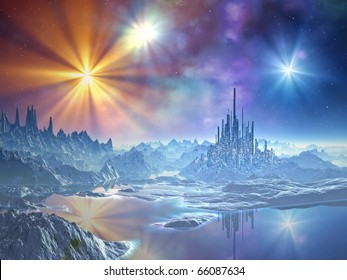 A futuristic city built from ice dominates the surface of the frozen alien world whilst the multicoloured stars glisten above.