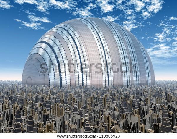 Futuristic City Computer Generated 3d Illustration Stock
