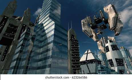 Futuristic city with impressive space station. 3D rendering