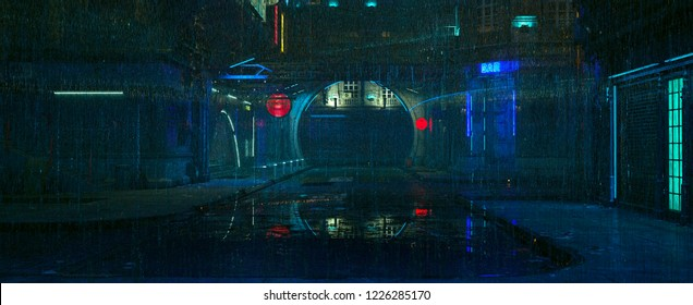 Futuristic city landscape. Rainy night scene. Photorealistic 3d illustration of the cityscape in the style of cyberpunk. Empty street with neon lights reflected on the wet pavement.