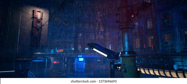 Futuristic city landscape. Rainy night scene. Photorealistic 3d illustration of the gloomy cityscape in the style of cyberpunk. Empty street with neon lights.