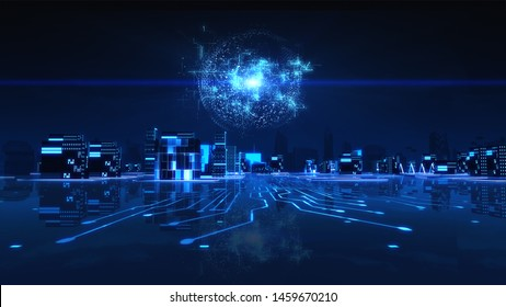 Futuristic city neon light with power energy ball light. Digital Transformation Concept Background. 3D Illustration.