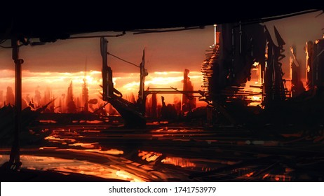Futuristic city. Science fiction imaginary, digital art. 2d illustration