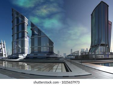 Futuristic City Skyline - 3d illustration