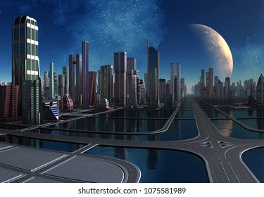 Futuristic City Skyline - 3d illustration
