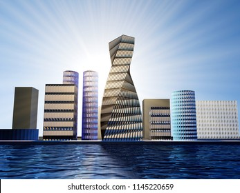 Futuristic city with towers of glass . 3d rendering