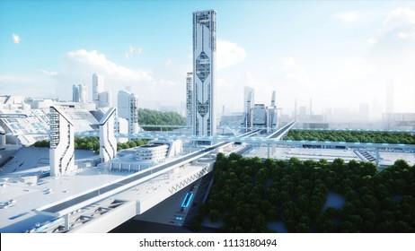 Futuristische Stadt, Stadt. Das Konzept der Zukunft. Luftbild. 3D-Darstellung.