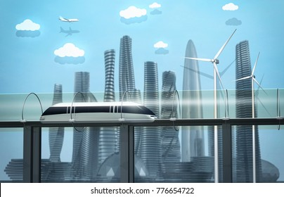 Futuristic city. Train moving in glass tunnel, wind turbines and modern buildings. 3d rendering image.