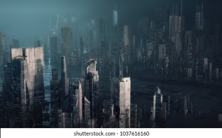 futuristic cityscape, 3d illustration