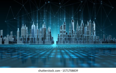 Futuristic cityscape view with wireless connection lines. 3d illustration.
