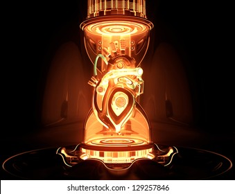 Futuristic concept. Cyber heart system as part of hourglass on a pedestal. 3d render