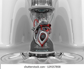 Futuristic concept. Cyber heart system as part of hourglass on a pedestal. 3d render / Robotic heart in hourglass